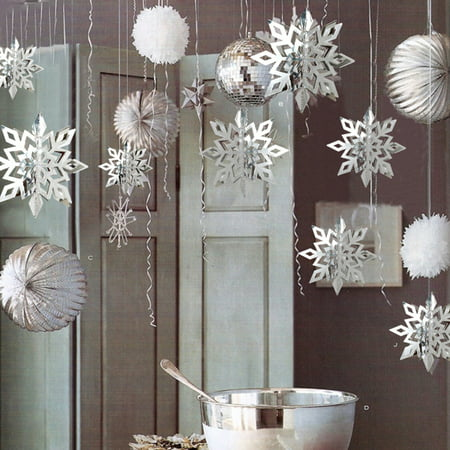 6Pcs 3D Snowflake Papercutting DIY Paper Craft Hanging Ornaments Pendants for Christmas New Year Home Party Decoration Color:Silver