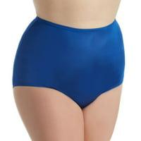 Women's Shadowline 17032P Plus Size Hidden Elastic Nylon Classic Brief Panty