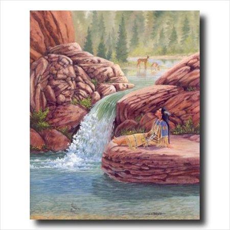 Native Indian Girl Lake Deer Wall Picture Art Print - Native Girls