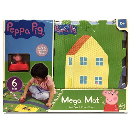 JamN' Products - 6 Piece Tile Mega Floor Mat with Vehicle, Peppa - Peppa Pig Room Decor
