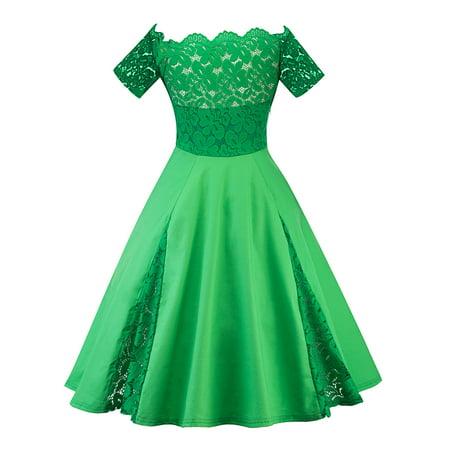 Plus Size Women Oversized Lace Crochet Off Shoulders 50s 60s Vinatge Style Dress Cocktail Short Sleeve Retro Rockabilly Prom Ball Gown - Plus Size 60s Dress