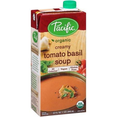 - Pacific Foods Organic Vegan Tomato Basil Soup, 32-Ounces