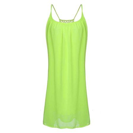 9495eb8b18783f ZANZEA - Women s Sexy Spaghetti Straps Summer Mini Chiffon Sundress  Sleepwear - Walmart.com