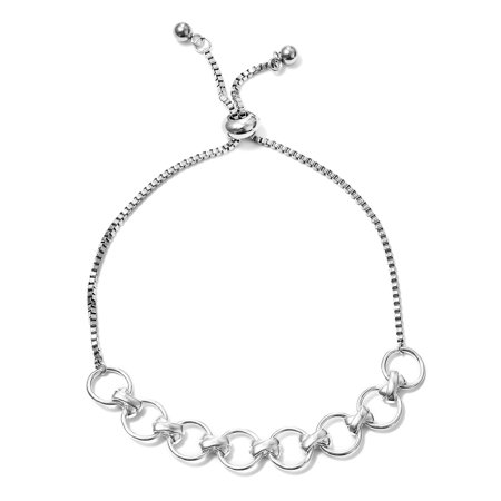 Linked Circles Bolo Bracelet 925 Sterling Silver Stainless Steel Jewelry for Women - Double Circle Link Bracelet