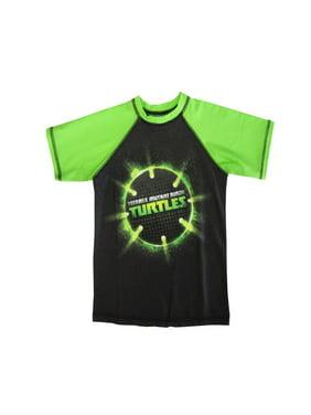 Nickelodeon Little Boys Green Black TMNT Ball Print Short Sleeve Rashguard 4/5