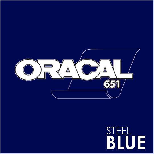ORACAL 651 Vinyl Roll of Glossy Steel Blue - Includes Free Multi-Purpose Squeegee - Choose Your Size