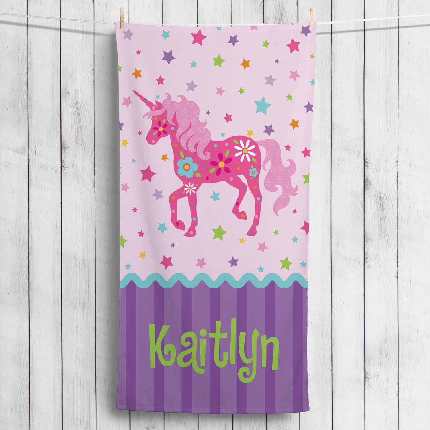 Personalized Pretty Unicorn Towel