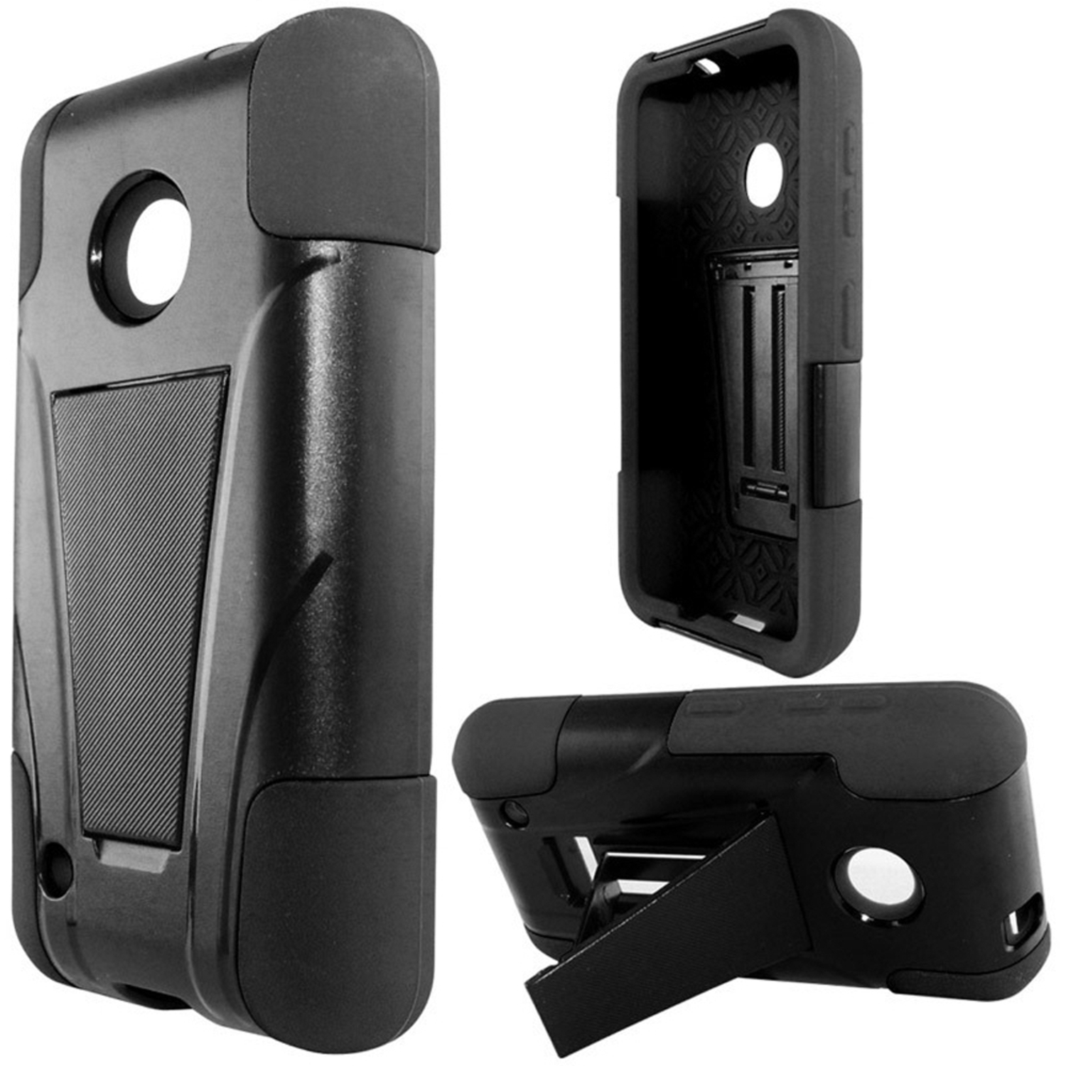 Insten Hard Hybrid Rugged Shockproof Plastic Silicone Cover Case with Stand For Nokia Lumia 530 - Black