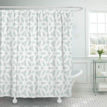 ksadk arabesque abstract modern geometric pattern light blue and white shower curtain bathroom. Black Bedroom Furniture Sets. Home Design Ideas