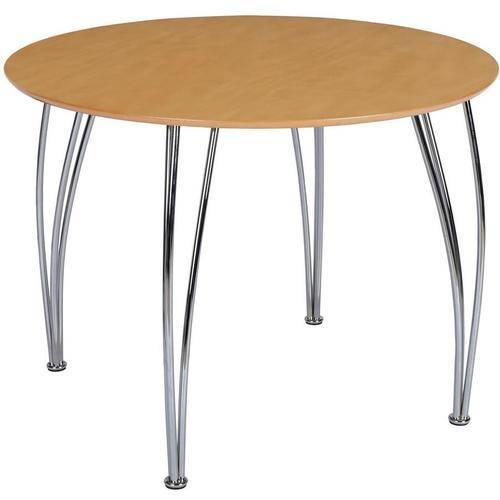 Novogratz Round Dining Table with Chrome Plated Legs, Natural