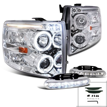 Spec-D Tuning For 2007-2014 Chevy Silverado Halo Chrome Projector Headlights W/ Bumper Fog Lamp (Left+Right) 2007 2008 2009 2010 2011 2012 2013