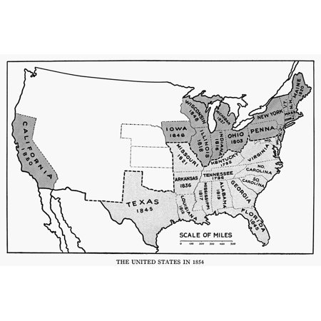United States Map 1854 Nmap Of The United States At The Time Of The  Kansas-Nebraska Act Of 1854 Showing Slave States (Shaded Lightly) And Free  States ...