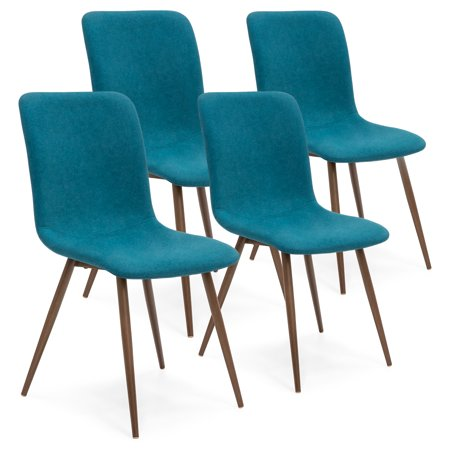 Best Choice Products Set of 4 Mid-Century Modern Dining Room Chairs w/ Fabric Upholstery and Metal Legs - Teal