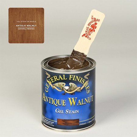 Medium Walnut Finish - General Finishes, Gel Stain, Oil Based, Antique Walnut, Quart
