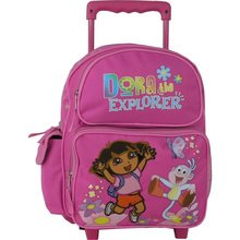 """Dora the Explorer Large 16"""" Cloth Backpack With Wheels - Pink"""