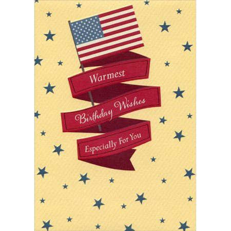 Designer Greetings US Flag with Red Foil Banners and Blue Stars: Military / Soldier Birthday Card
