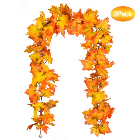 Thanksgiving Outdoor Decor (Coolmade 2 Pack Fall Maple Leaf Garland - 5.5ft/Piece Artificial Foliage Garland Autumn Hanging Fall Leave Vines for Indoor Outdoor Wedding Thanksgiving Dinner Party)