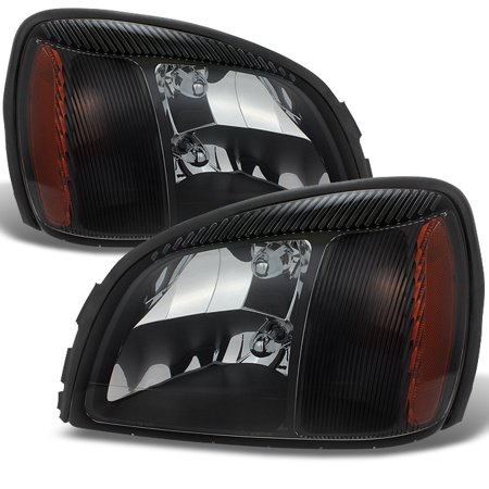 Fit 2000-2005 Cadillac Deville Black Crystal Headlights Lights Lamps L+R