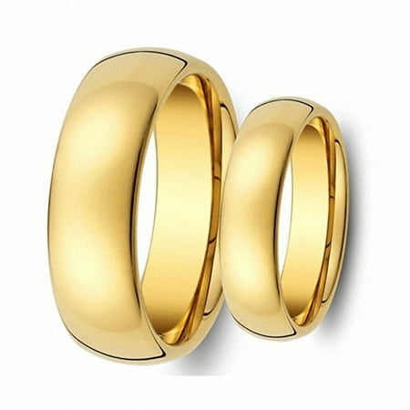 Tungsten Carbide 8MM/6MM For Him & Her Domed Gold IP Shiny Finish Wedding Band Ring (Gold Wedding Bands For Him And Her)