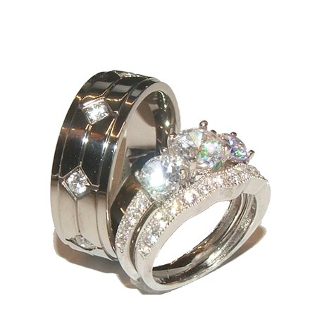 His Hers 3 Stone Cz Wedding Engagement Ring Set Sterling Silver Anium
