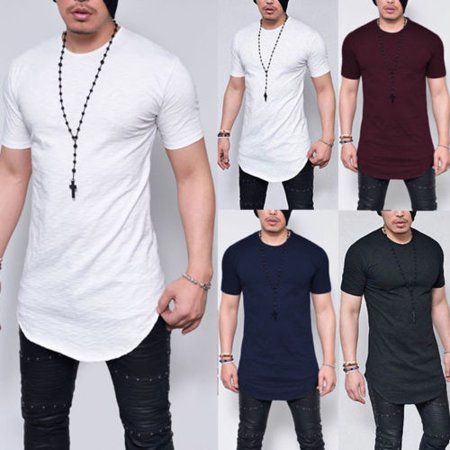 Casual Male Tall (Plus Size M-5XL Summer Fashion Casual Pure Color Slim Fitness Elastic Men O-Neck Short Sleeve T shirt Male Hip Hop Tops)