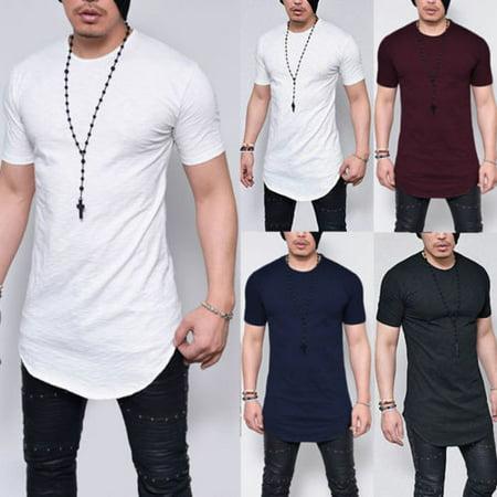 Plus Size M-5XL Summer Fashion Casual Pure Color Slim Fitness Elastic Men O-Neck Short Sleeve T shirt Male Hip Hop Tops ()