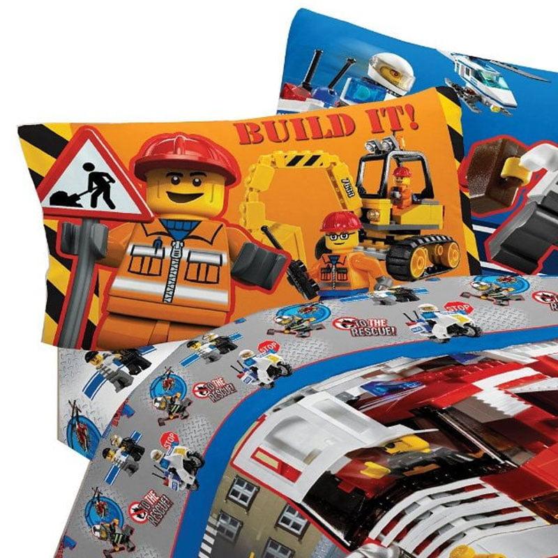 3pc Lego Twin Bed Sheets Lego City Build Bedding - Walmart.com