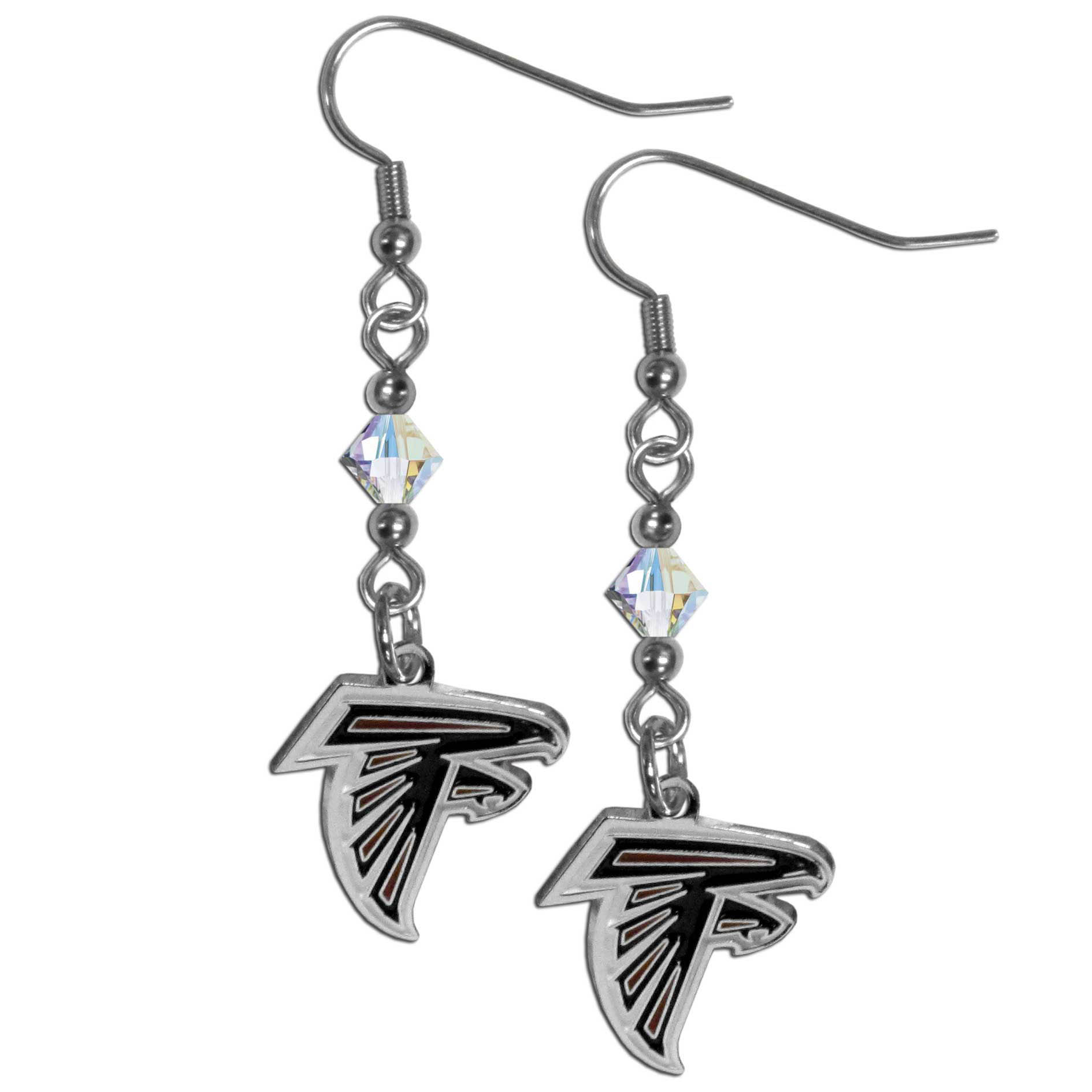 "NFL FCE070 Atlanta Falcons Crystal Dangle Earrings 1.5"" Long"