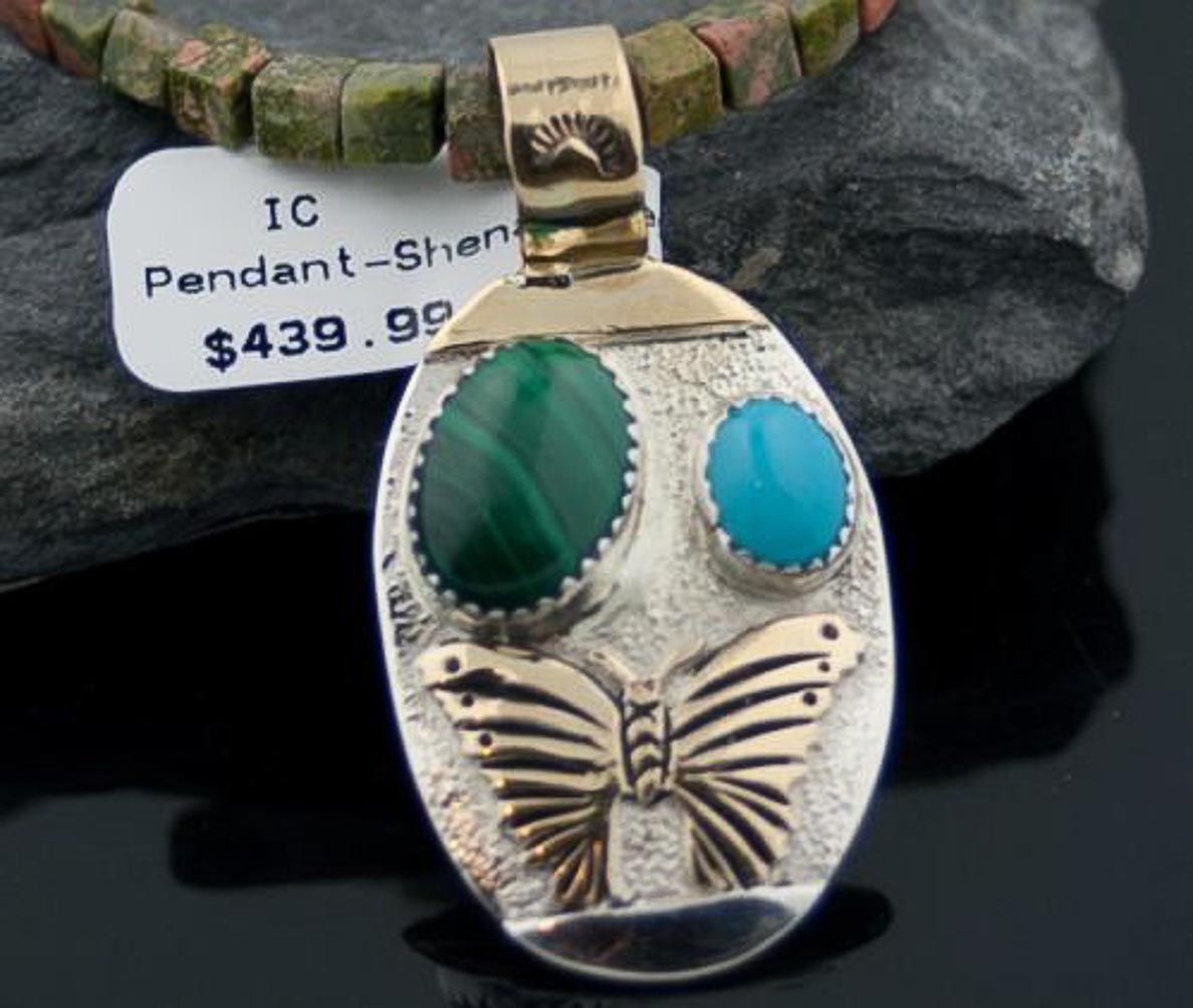 12kt Gold Filled Handmade Butterfly Turquoise Coral .925 Sterling Silver Authentic Shenan Begay Navajo Native American... by