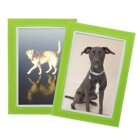 Set of 2 Magnetic Photo Frame Sleeves - Leather Stitched Trim - Choose From Green or Blue Fridge Frame Color: Green](Magnetic Photo Frame)