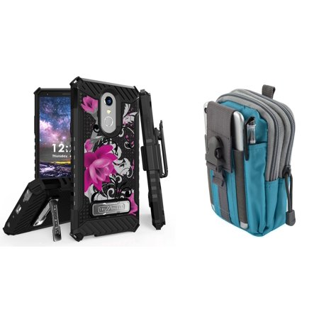 BC Military Grade [MIL-STD 810G-516.6] Kickstand Belt Holster Case (Magenta Flower) with Teal Blue Tactical EDC MOLLE Utility Waist Pack Holder Pouch, Atom Cloth for LG Stylo 4+ Plus/LG Stylo 4