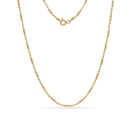 Gold Alternating Bead Necklace (Gold Over Sterling Silver Alternating Bead Chain Necklace 20 Inch )