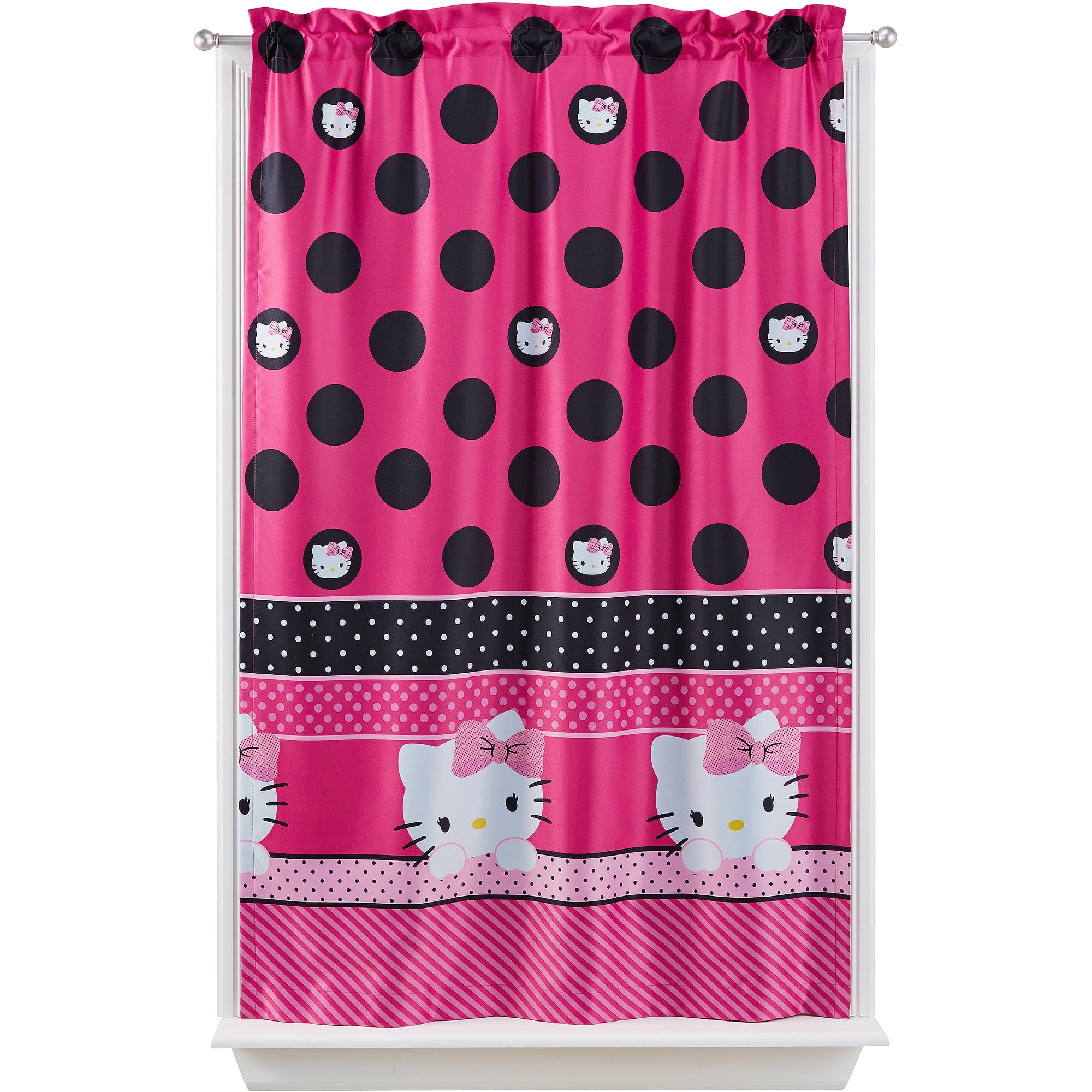 Black and white hello kitty shower curtain - Sanrio Hello Kitty Seeing Dots Room Darkening Girls Bedroom Curtain Panel Walmart Com