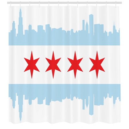 Chicago Skyline Shower Curtain, City of Chicago Flag with High Rise Buildings Scenery National, Fabric Bathroom Set with Hooks, 69W X 75L Inches Long, Red White Baby Blue, by Ambesonne