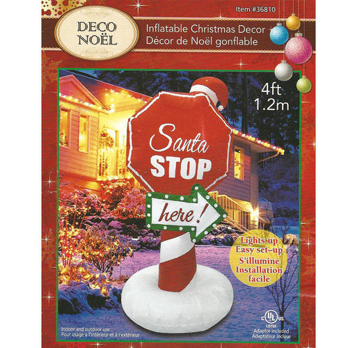 Christmas Inflatable Santa Stop Sign with Lights  Blower Airblown CSA 4ft (1.2m) - image 2 of 2