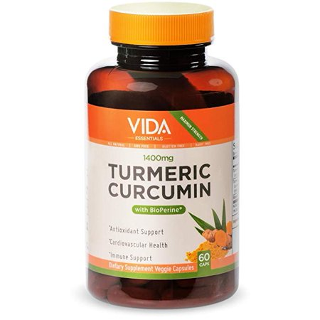 Maximum Potency Turmeric Curcumin 1400 mg All Natural Anti-aging Supplement for Yogis (60 Vegan Caps) with Bioperine for Fast Absorption - Boosts digestion, Immunity,