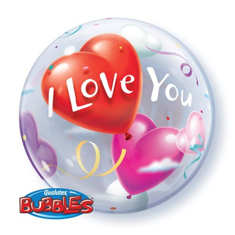 Valentines Day Balloon - I Love You Balloon Bubble - 22 Inch Bubble Balloon