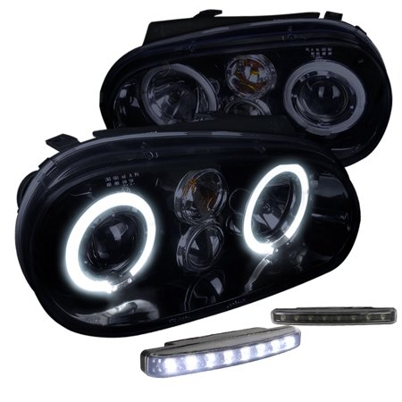 Gti Projectors (Spec-D Tuning Glossy Black 1999-2006 Volkswagen Golf Gti R32 Mk4 Smoke Halo Projector Headlights + Led (Left + Right) 1999 2000 2001 2002 2003 2004 2005 2006 )