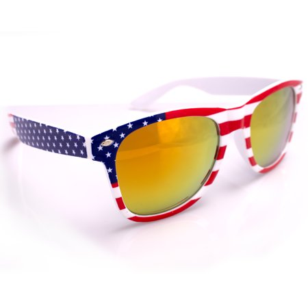 Patriotic American Flag Colored Lens Sunglasses, White Red Blue Frame, OS - Coloured Contact Lenses For Halloween