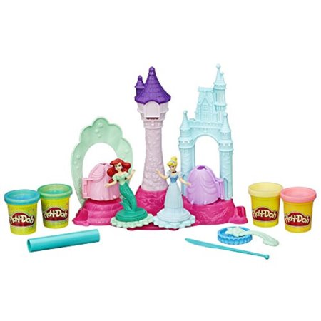 Play-Doh Disney Royal Palace Set with Cinderella, Ariel & 4 Cans of Dough (Playdough Princess)