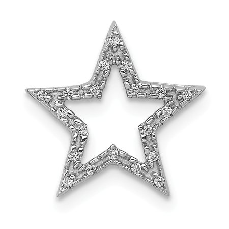 Roy Rose Jewelry 14K White Gold Small Diamond Star Chain Slide Pendant 1/20-Carat