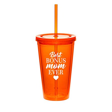 16oz Double Wall Acrylic Tumbler Cup With Straw Best Bonus Mom Ever Step Mom Mother (The Best Boobs Tumblr)