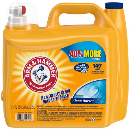 Arm & Hammer Clean Burst Liquid Laundry Detergent HE, Clean Burst, 210 fl oz