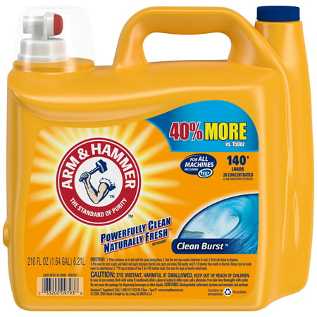 Arm & Hammer Clean Burst Liquid Laundry Detergent HE, Clean Burst, 210 fl