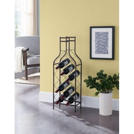 Lawton Floor Wine Rack, Pewter Metal, Transitional, 12 Bottle (Pewter Metal)