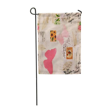 SIDONKU Retro with Fragments of Letters and Old with Butterflies Cut Out and Skeleton Le Garden Flag Decorative Flag House Banner 28x40 inch](Cut Out Skeleton)