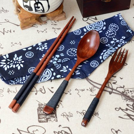 Japanese Vintage Wooden Chopsticks Spoon Fork Tableware 3pcs Set New (Spoon Chopsticks Fork Set Box)