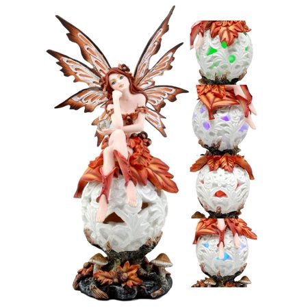 Ebros Fall Fire Crimson Fairy Goddess Sitting On LED Night Light Flower Orb Figurine Missing You Enchanted Fairy Collector Sculpture Statue - Light Orbs