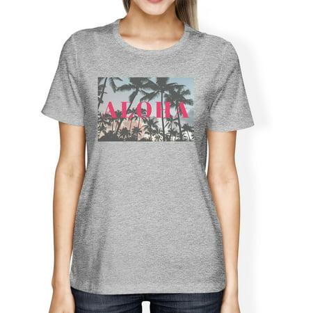 Tropical Sunset Aloha Womens Grey Lightweight Summer T-Shirt Gifts - Aloha Printing
