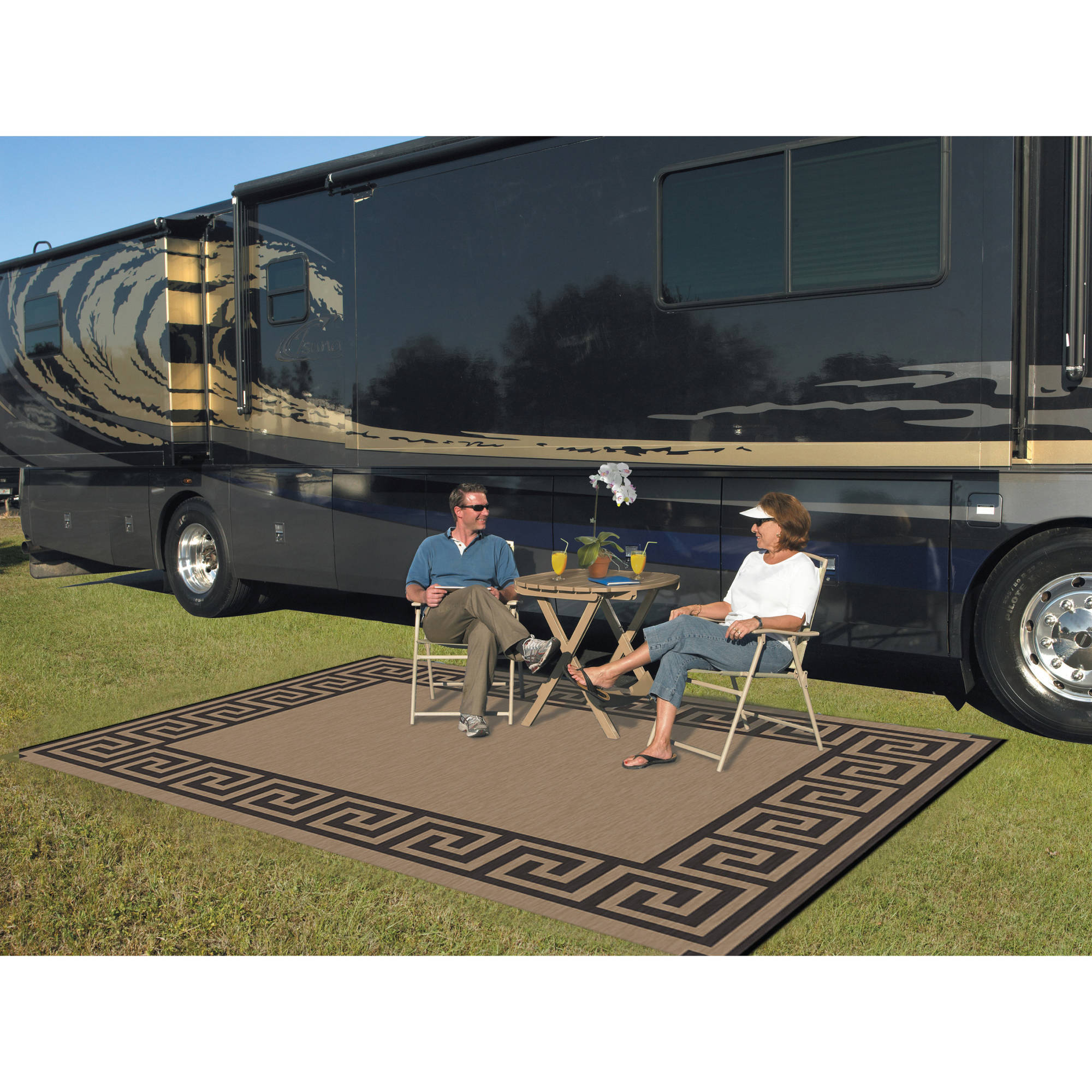 Patio Mats 9' x 12' Reversible RV Patio Mat, Indoor / Outdoor Rug, Camping Mat, Greek Key